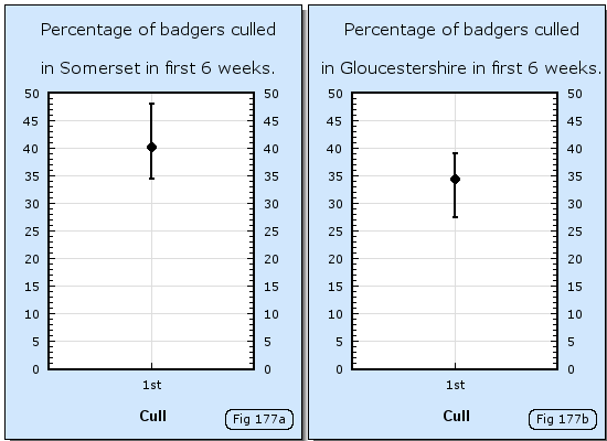 Percentages of badgers culled in Somerset and Gloucestershire