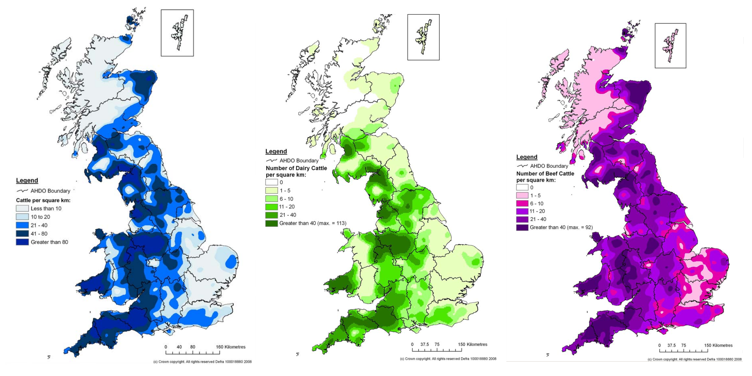Cattle density maps for Great Britain.